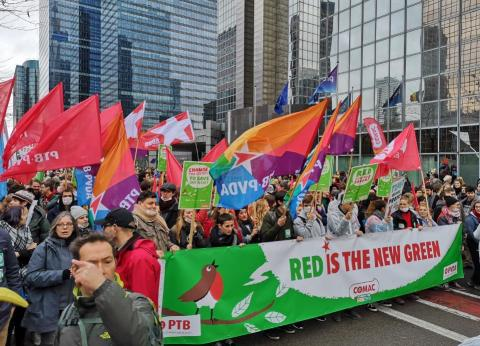 A Workers' Party of Belgium climate demonstration on December 2, 2018.